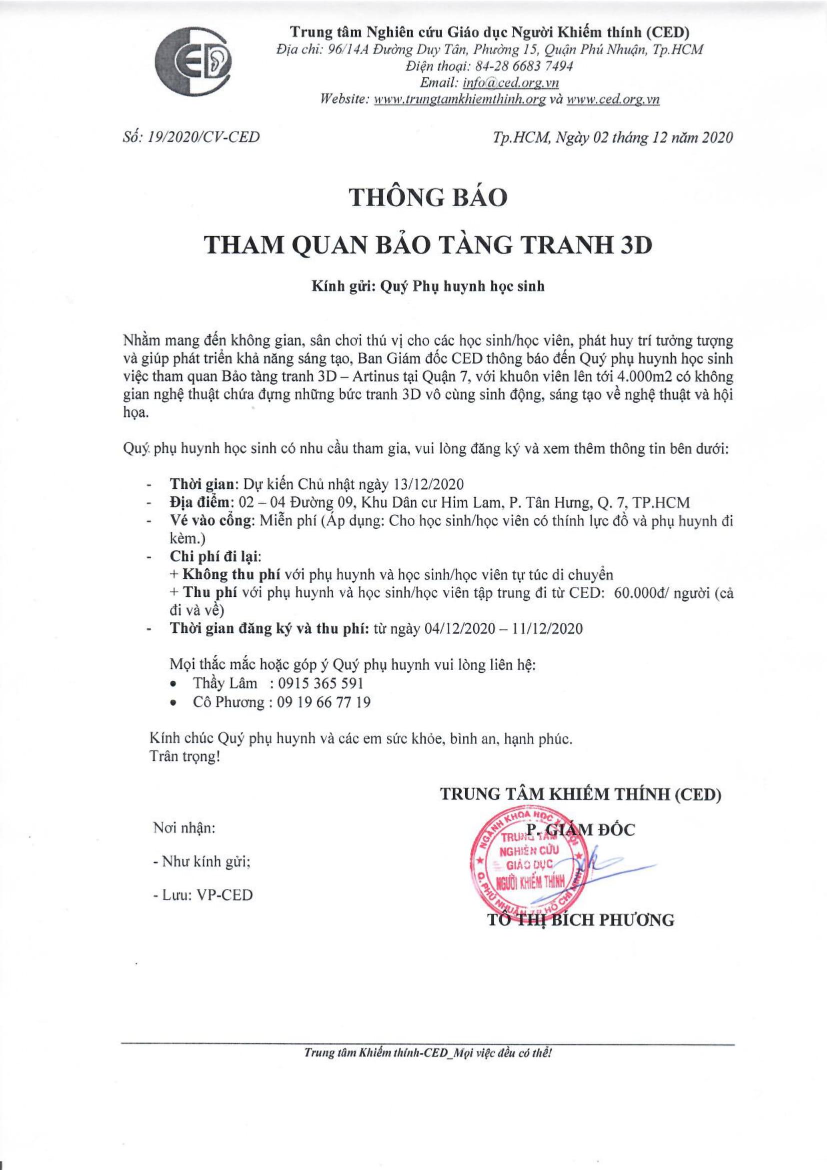 THÔNG BÁO THAM QUAN BẢO TÀNG TRANH 3D
