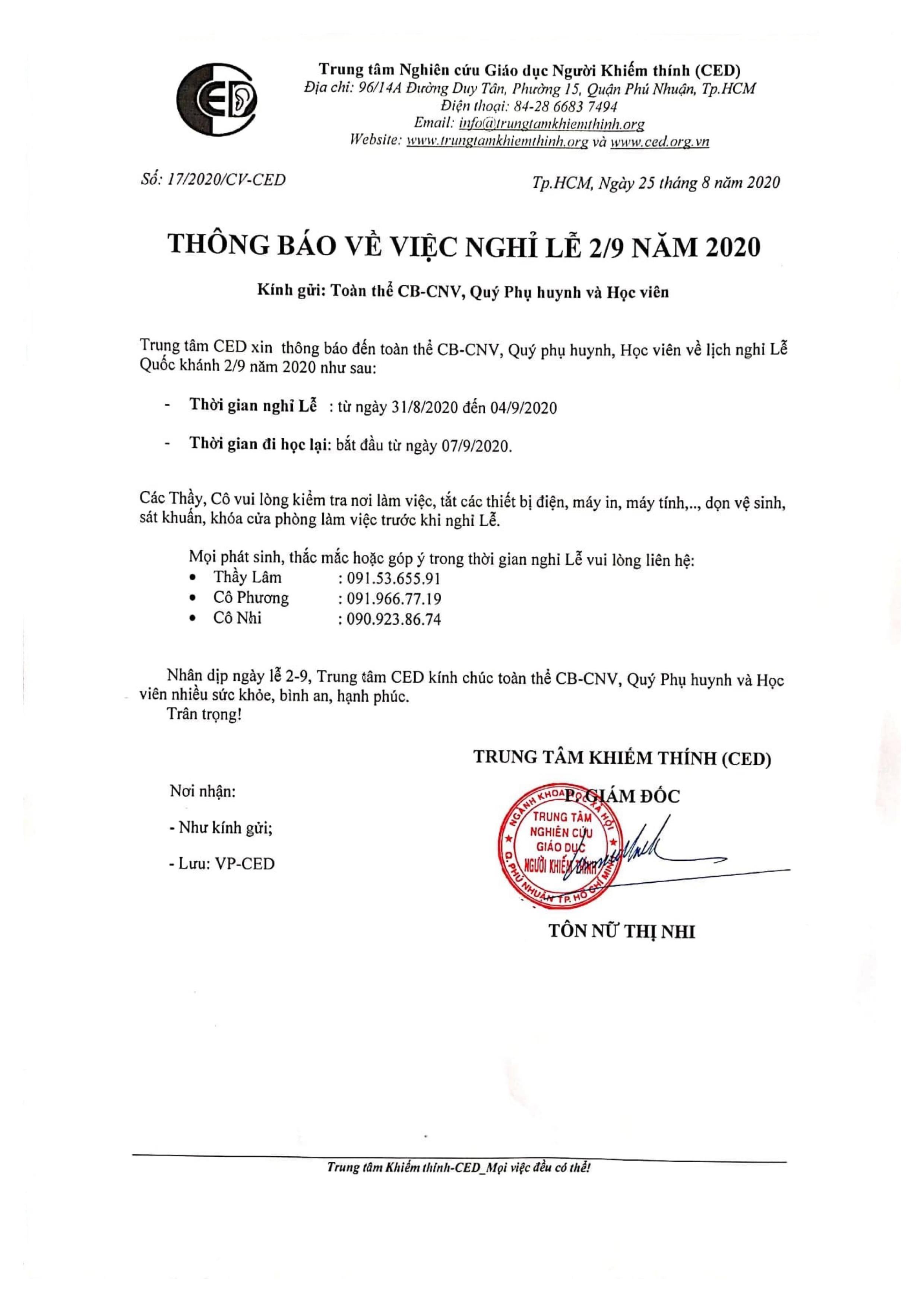 THÔNG BÁO NGHỈ LỄ QUỐC KHÁNH 2/9/2020